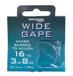Drennan Wide Gape MicroBarbed Spade-End Hooks To Nylon
