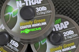 Korda N-Trap Semi-Stiff Coated Hooklink - 20lb or 30lb  Weed Green