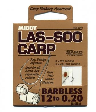 Middy Las-Soo Carp Hair Rig Hooks to Nylon  with fast hair noose system