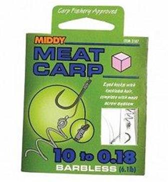 Middy Meat Carp ready tied hair rigs  with meat screw system