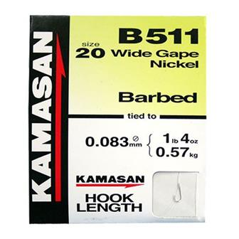 Kamasan B511 Spade End Barbed Hooks To Nylon